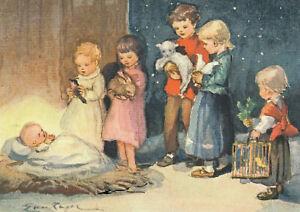 Postkarte: v. Kager - Kinder mit ihren Tieren vor dem Christkind in der Krippe