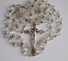 Faceted Ice Clear Crystal ball beads Catholic Rosary silver tone crucifix