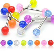 8 Pack Glitter Acrylic Balls Tongue With Steel Bars 14g 16mm #G1
