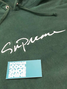 2018 FW18 SUPREME CLASSIC SCRIPT BOX LOGO HOODED SWEATSHIRT DARK GREEN WHITE S