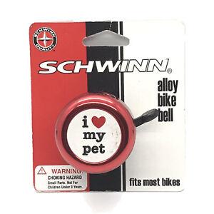 """Schwinn Alloy Bike Bell """"I Love My Pet"""" Red & Black SW75287 Fits Most Bikes New"""