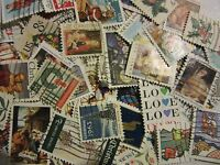 """CHRISTMAS AND LOVE STAMP HOARD """"ALL DIFFERENT USED USA"""" FREE SHIPPING"""