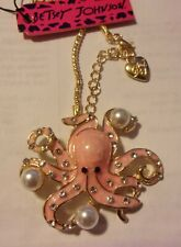 "BETSEY JOHNSON NECKLACE PINK PENDANT BROOCH OCTOPUS RHINESTONE CRYSTAL 26"" NIP"