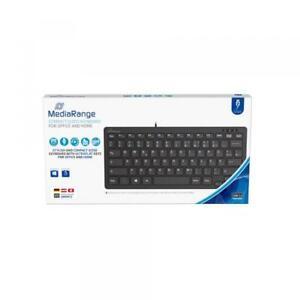 Mediarange Tastatur Compact ultraflach mit Kabel Keyboard QWERTZ schwarz MROS112