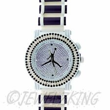 MENS ICED OUT WHITE/PURPLE MICHAEL JORDAN JUMPMAN LOGO BULLET BAND WATCH