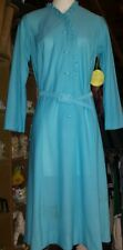 L@k! Vintage British Lady button front dress with belt turquoise 12 New