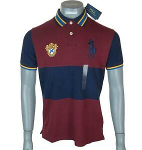 Bnwt Authentic Men's Ralph Lauren Big Embroidered Pony Polo Shirt Custom Fit New