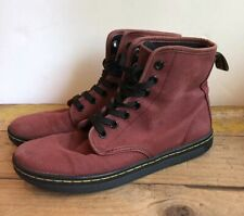 Dr Martens Martins Shoreditch Canvas Combat Maroon Boots Womens Size 6 EU 37 Red