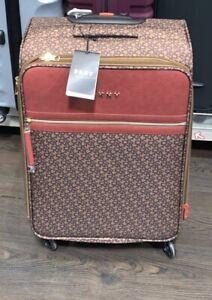 DKNY Printed Brown & Red Medium Sized Suitcase Holiday Travel Bag Luxury Style