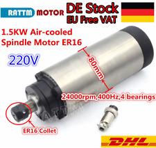 【DE】 1.5KW Air Cooled Spindle Motor ER16 24000rpm 80mm 220V CNC Router Engraving