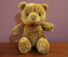 "1986 Gund Classic TEDDY BEAR Bow 11"" Plush Dark Brown Vintage Stuffed Baby Toy"