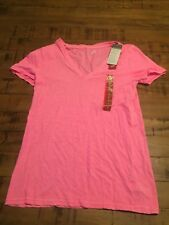 Merona Womens Sz XS Solid Hot Pink NWT Short Sleeve V-Neck Blouse