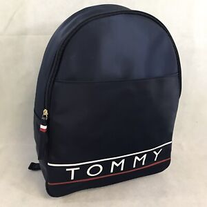 New Tommy Hilfiger Backpack Spell Out Logo Canvas Faux Leather Book Bag Purse