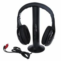 5 in 1 Headset Wireless Headphones Cordless RF Mic for PC TV DVD CD MP3 MP4
