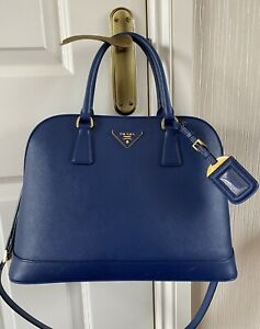 Genuine Designer Prada saffiano lux Open Promenade Bag, Cornflower blue, receipt