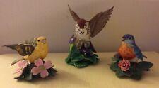 Vintage Lenox Porcelain Bird Figurines - Lot of 3 Eastern Bluebird, Yellow Warbl