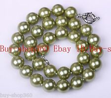 """12mm 18"""" Green Round Shape Sea Shell Pearl Bead Necklace Chain AAA"""