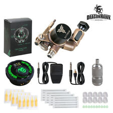 Dragonhawk TOP Tattoo Kit Brass Frame CNC Rotary Machine Power Supply Color Ink