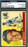 Ed Lopat 1955 Topps Psa Dna Coa Autograph Authentic Hand Signed