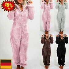 Damen Plüsch Schlafanzug Pyjama Hausanzug Kapuzen Jumpsuit Overalls Nachtwäsche