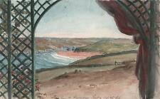Paisaje en Pentire Newquay junto Cornwall Victoriano Acuarela Pintura 1845