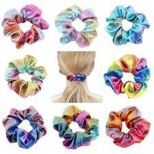 8PCs Metallic Shiny Hair Scrunchies Ponytail Holder Girl Elastic Hair Bands Ties