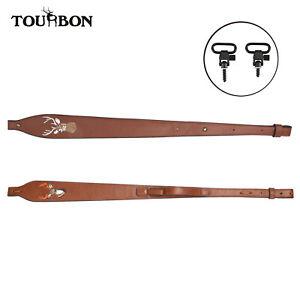 Tourbon Vintage Leather Rifle Sling Adjustable Gun Strap Belt Deer Embroidery