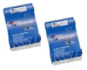 2 x Zebra Farbband True Colours P100i P110i card printer ribbon 800017-201 BLACK