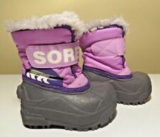 SOREL Girls Purple Snow Commander Winter Snow Boots Gray Fur Lining Size 4