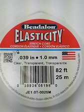 Elastic Beading Cord 1mm 25 Meters. 82ft Clear Beadalon Stretch Cord Elasticity