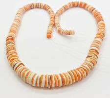 Orange White Oyster Shell Graduated 10 - 4 mm heishi Beads 18 Inches Strand