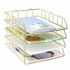 4 Tier Stackable Letter Trays Paper Tray Document Holder Magazine 4 Tier Gold