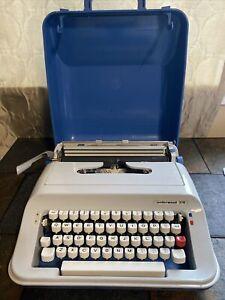 Vintage Underwood 378 Portable Typewriter Carrying Case Blue