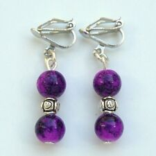 Clip On Earrings With Purple Glass Beads & Tibetan Silver Spacer Beads New LB64