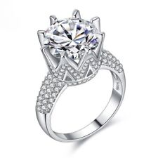 Silver 925 Over 18K White Gold Plated 8 Carat Simulated Lab Made Diamond Ring