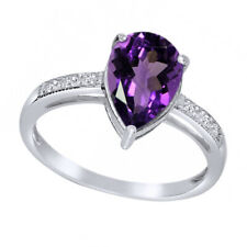 14K White Gold Over Pear Shape Amethyst & White Topaz Solitaire Engagement Ring