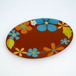 "HAWAIIAN Floral Plumbago  Ceramic Serving Platter 18"" Long NEW Home Decor"