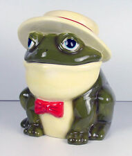 Adorable Southern Green Bull Frog In Straw Hat Cookie Jar So CuTe New In Box