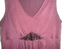 Vintage Hippie Cowgirl Summer DRESS Full Skirt Purple Bead Maternity Gauze NICE
