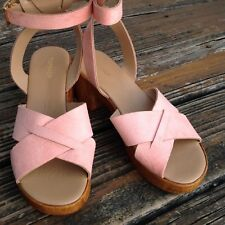 Topshop Top Shop Dolly Peach Suede Wedge Platform Sandals 9.5 EU 40 UK 7 Shoes