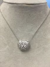 14K WHITE GOLD PAVE HEART LOCKET NECKLACE