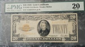 $20 1928 GOLD CERTIFICATE  SERIES 1928 FR:2402 ((PMG 20 Very Fine))