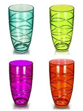 4x Colourful Swirl Acrylic Tumbler Plastic Glass Picnic Camping Party Glasses