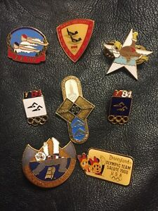 Lot / Set of 8 Synchronized Swimming Pins~Olympic~Vintage~LA~Seoul~Moscow