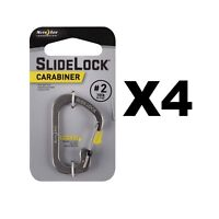 Nite Ize SlideLock Carabiner #2 Stainless Steel Locking 10lb-Rated (4-Pack)