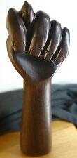 FUNKY VINTAGE 1970'S WOOD FOLK SCULPTURE POWER 2 THE PEOPLE BEER TAP DOOR HANDLE