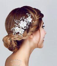 White Wedding Hair Accessories Bridal Clips Chiffon Flower Piece