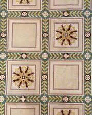 Pure Portuguese - 1920s Antique Needlepoint Rug - Mosaic Square Carpet - 17 x 17