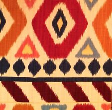 "BRUNSCHWIG & FILS Uzbek linen cotton print red gold cream blue remnant new 16""sq"