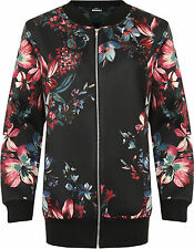 Womens Plus Floral Print Bomber Jacket Ladies Long Sleeve Zip Crew Neck 14-28